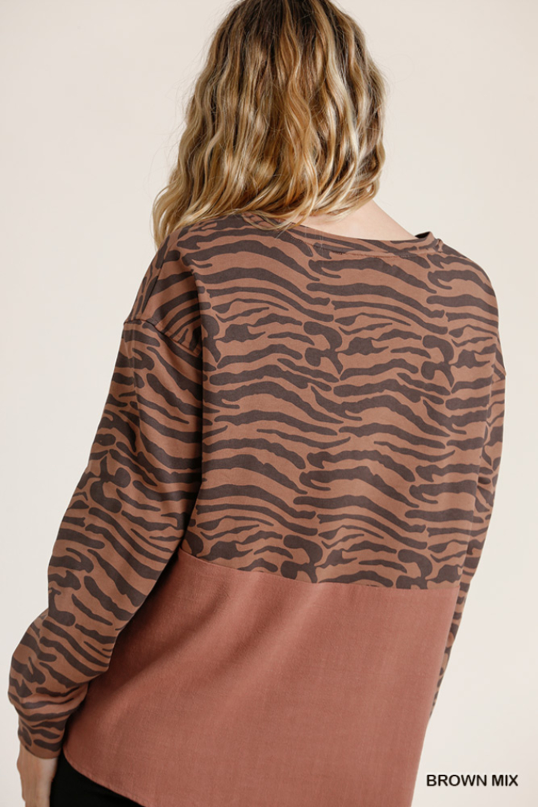 umgee  Animal Print French Terry Long Sleeve - Back Cropped Image