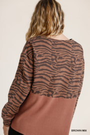 umgee  Animal Print French Terry Long Sleeve - Back cropped