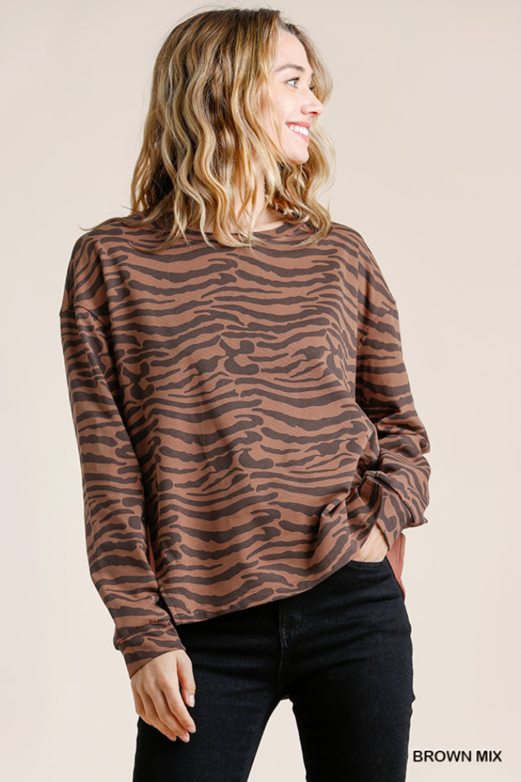 umgee  Animal Print French Terry Long Sleeve - Front Cropped Image