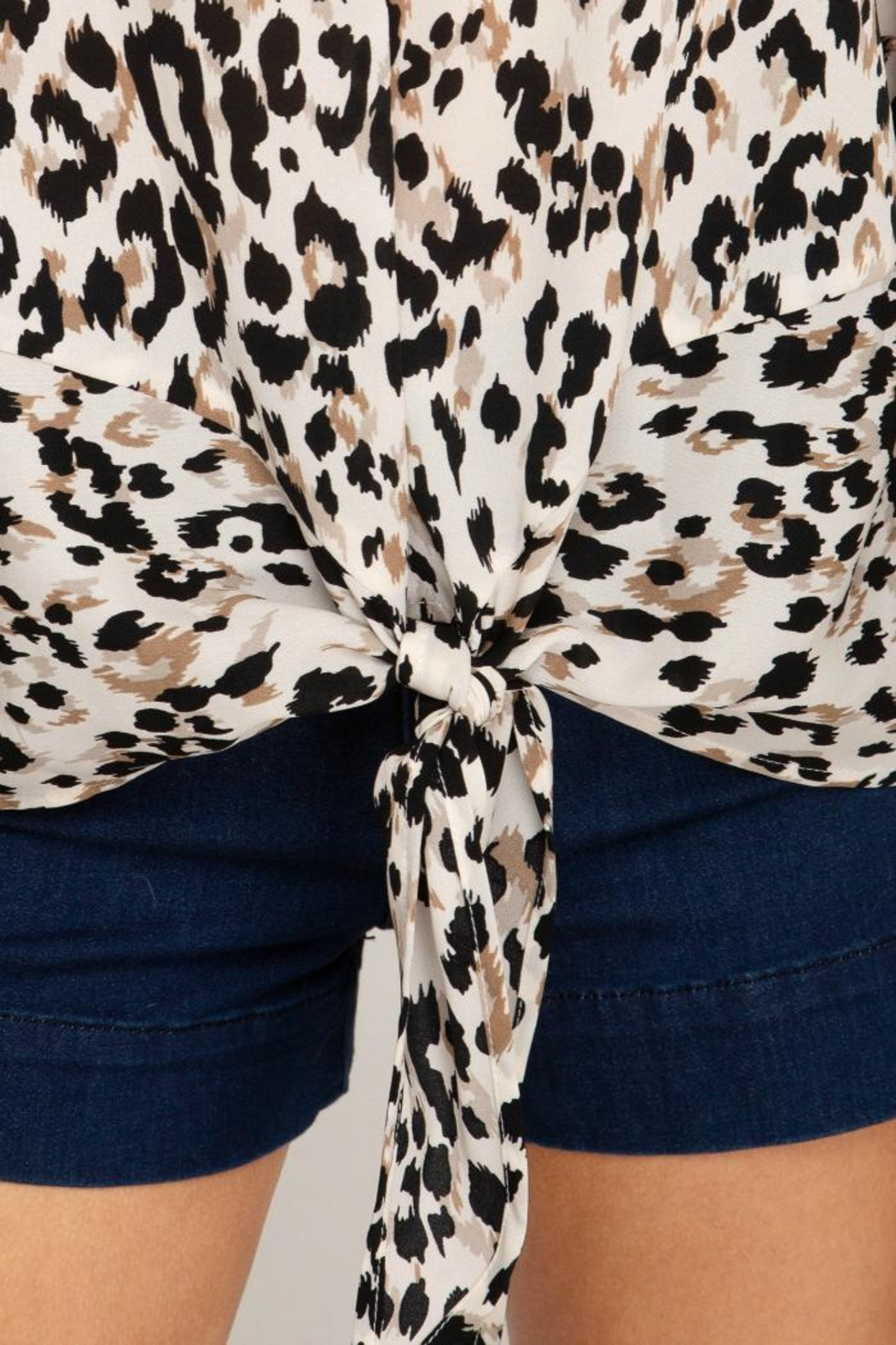 She + Sky Animal-Print Front Tie - Side Cropped Image
