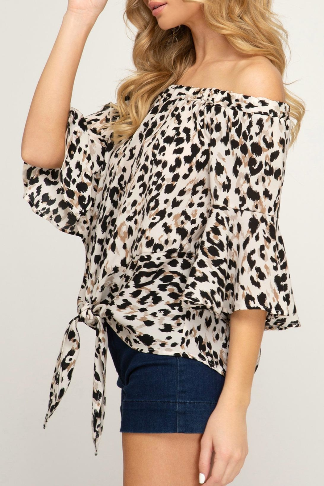 She + Sky Animal-Print Front Tie - Front Full Image
