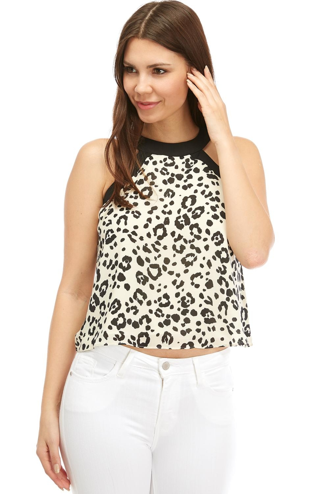 On Twelfth Animal-Print Halter Top - Front Cropped Image