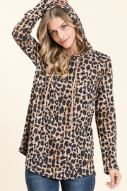 bom bom Animal Print Hooded Top - Front cropped