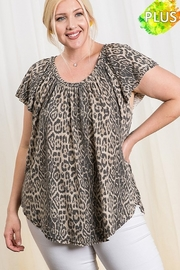 Ces Femme  Animal Print Jersey Knit Fabric Top - Front full body
