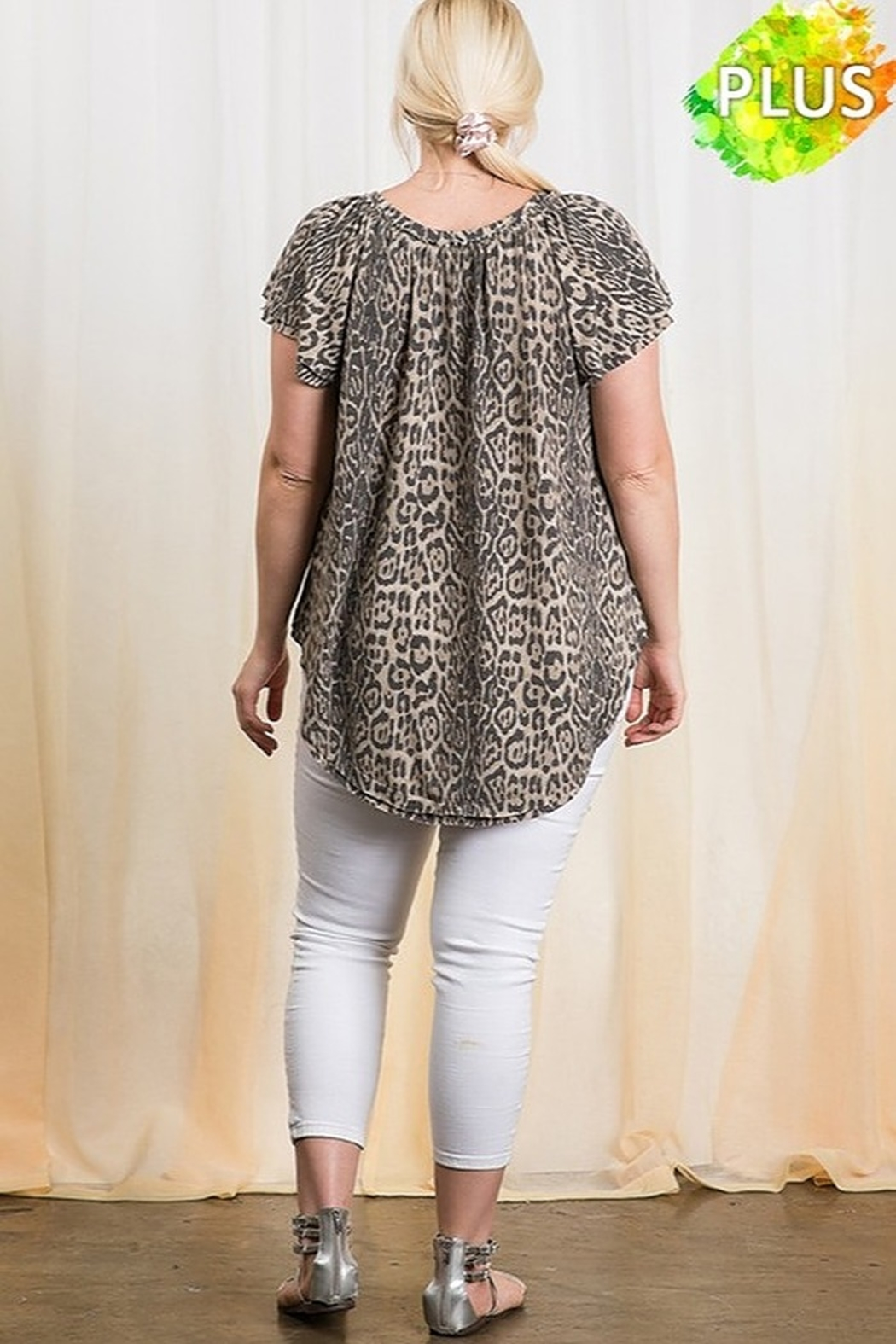 Ces Femme  Animal Print Jersey Knit Fabric Top - Side Cropped Image