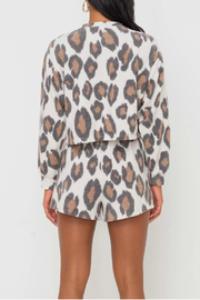 Lush  Animal Print Knit Top - Front full body
