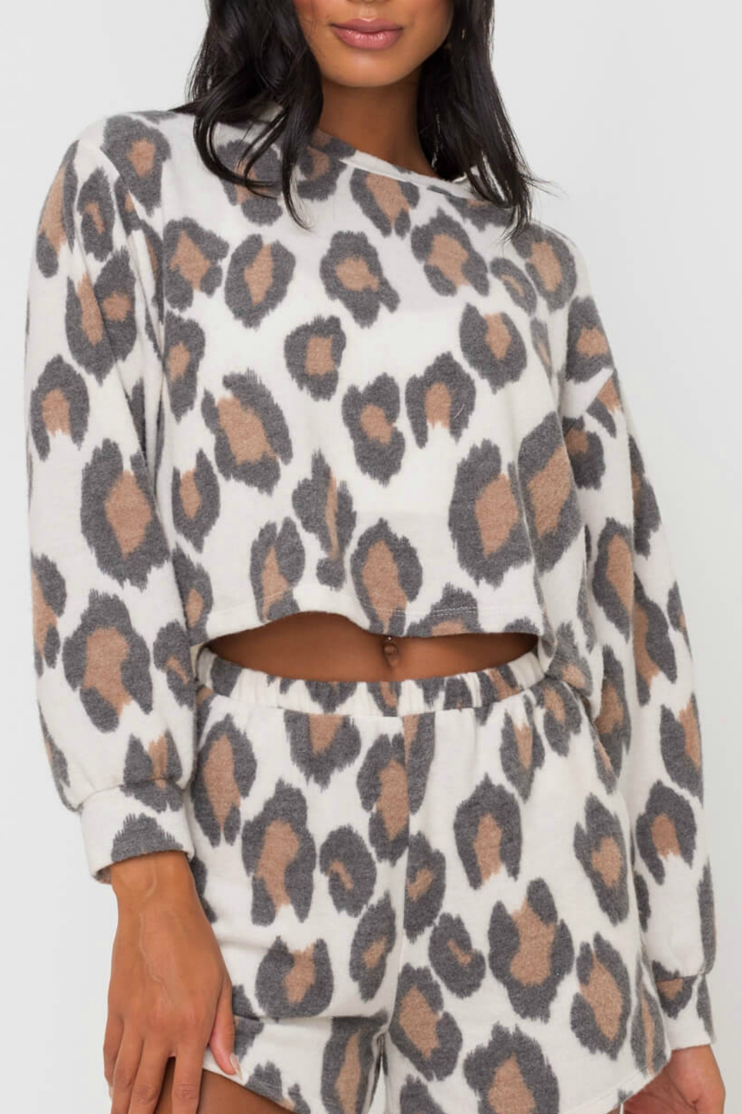 Lush  Animal Print Knit Top - Front Cropped Image