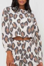 Lush  Animal Print Knit Top - Front cropped
