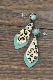 JChronicles Animal-Print-Leather Natural-Turqoise Post-Earrings - Product Mini Image