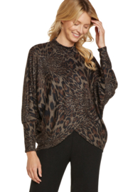 Nally & Millie Animal print mock neck cross over top - Front cropped