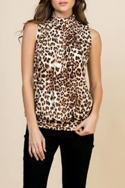 Riah Fashion Animal-Print-Mock-Neck Pleated-Sleeveless-Top - Front cropped