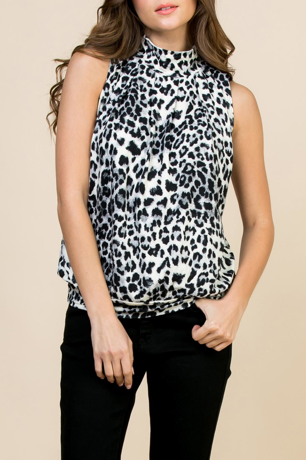 Riah Fashion Animal-Print-Mock-Neck Pleated-Sleeveless-Top - Front Cropped Image