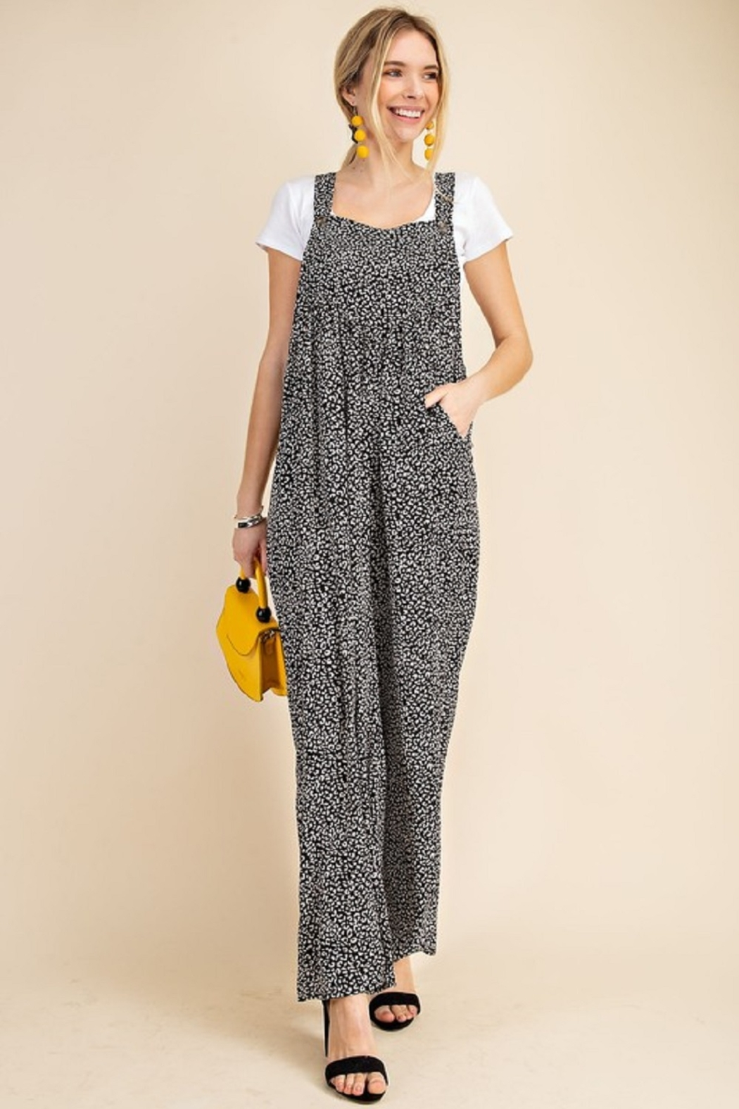 Kori Animal Print Overall Jumpsuit - Front Full Image