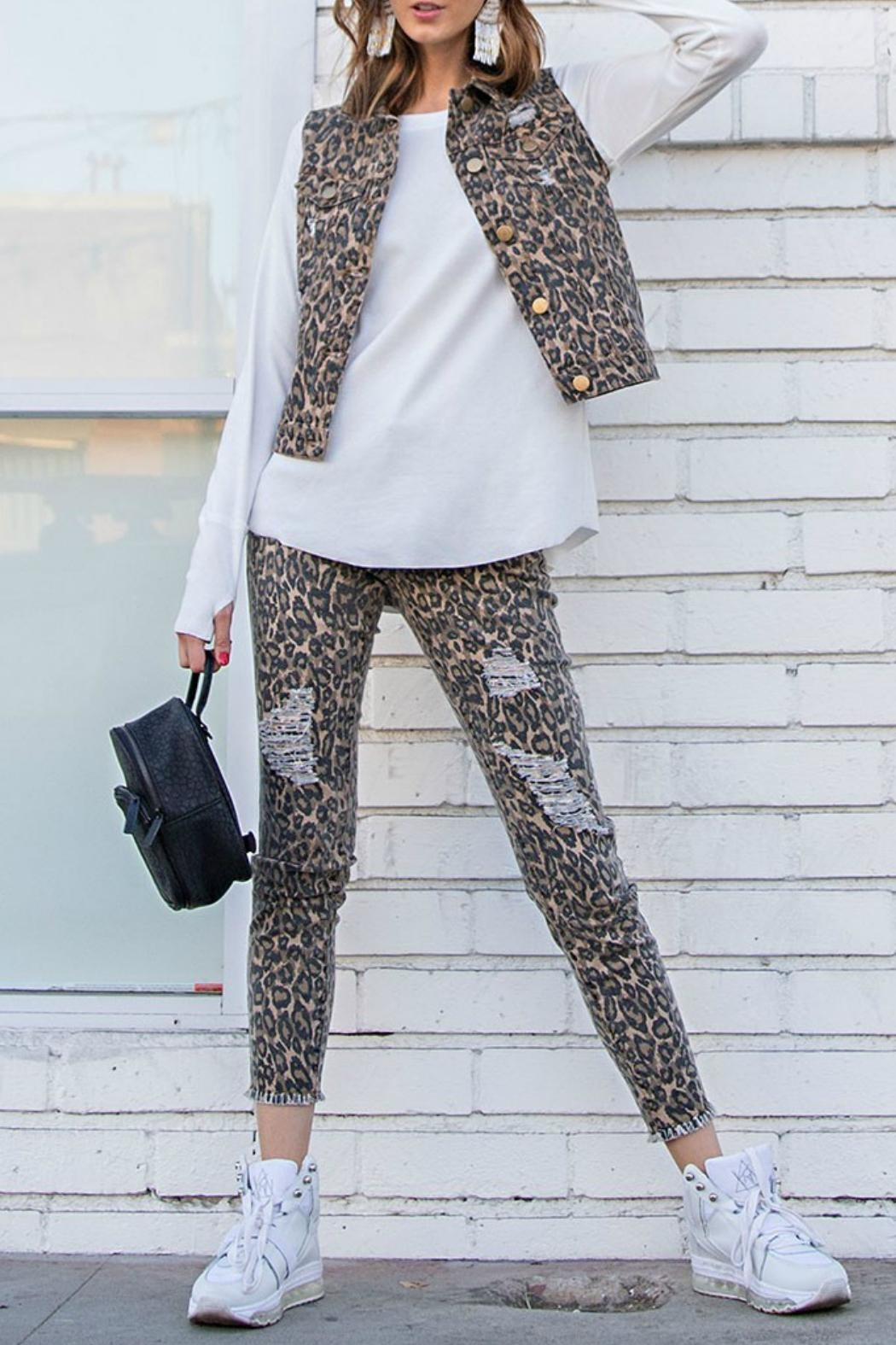 easel Animal Print Pants - Front Cropped Image