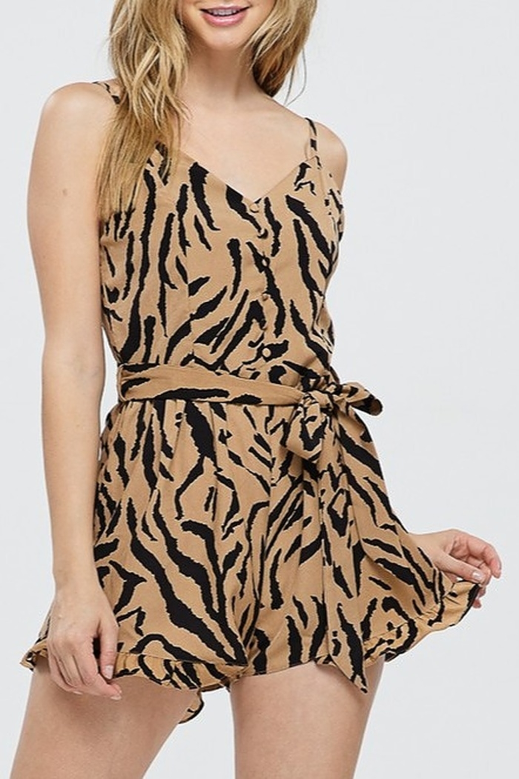 Papermoon Animal Print Romper - Front Cropped Image