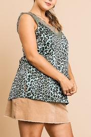 Umgee  Animal Print Satin Sleeveless Lace V-Neck Top - Product Mini Image