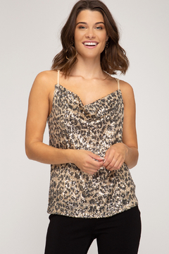 She + Sky Animal Print Sequin Cowl - Product List Image