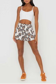 Lush  Animal Print Shorts With Elastic Waistband - Front cropped