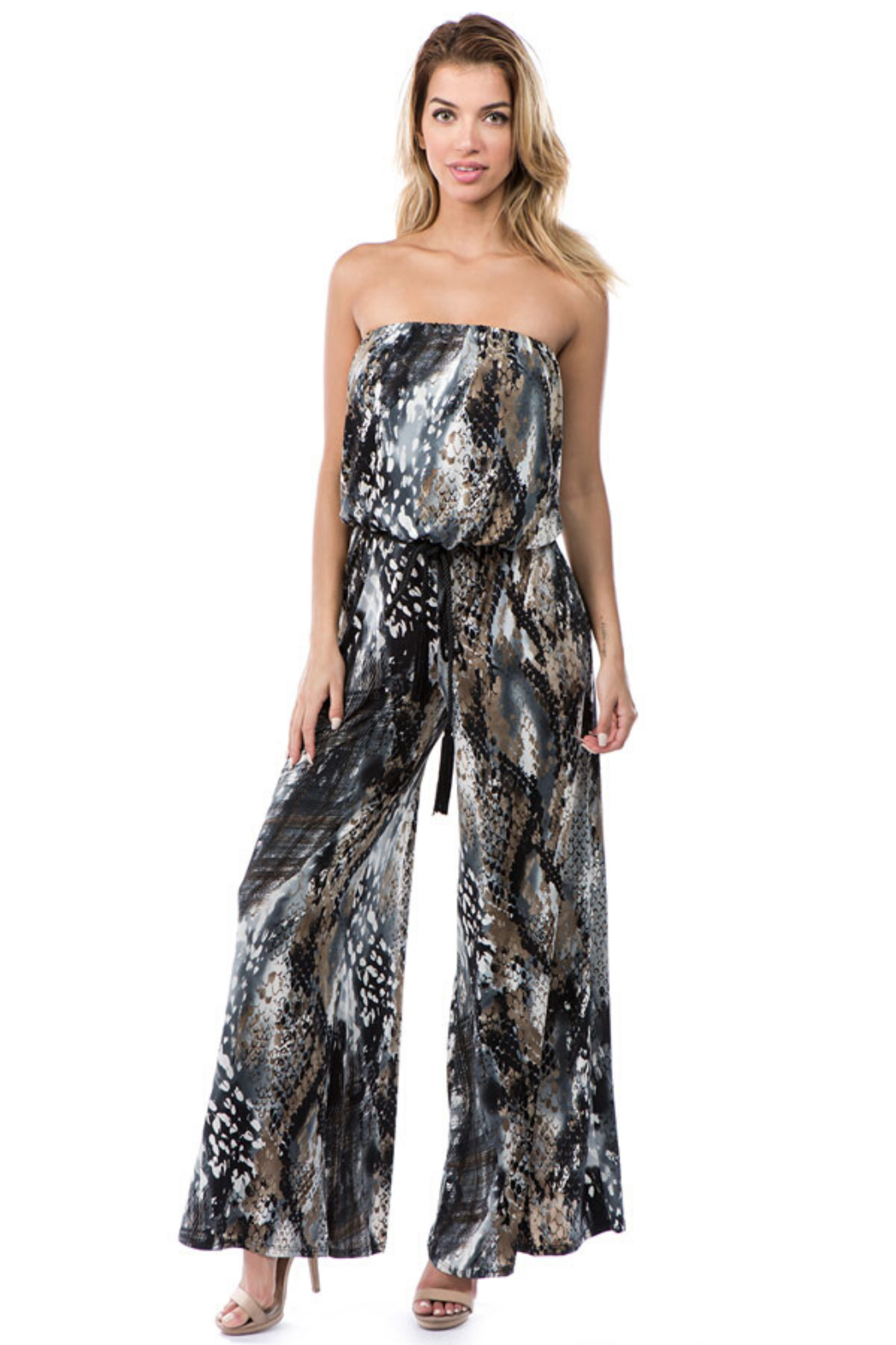 Ariella USA Animal Print Strapless Jumpsuit w Rope Belt - Front Cropped Image