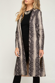 She + Sky Animal Print Suede Duster - Back cropped