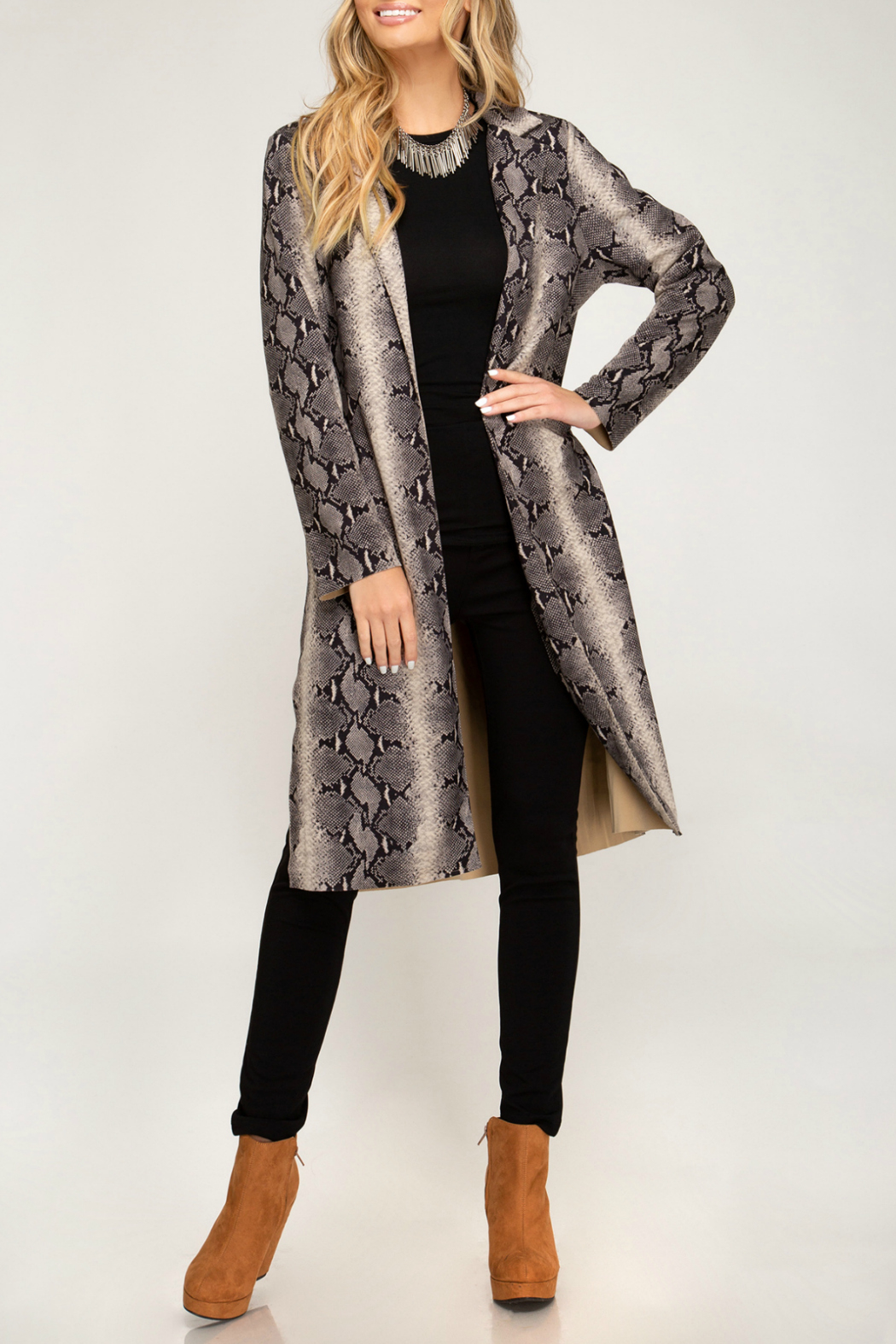 She + Sky Animal Print Suede Duster - Side Cropped Image