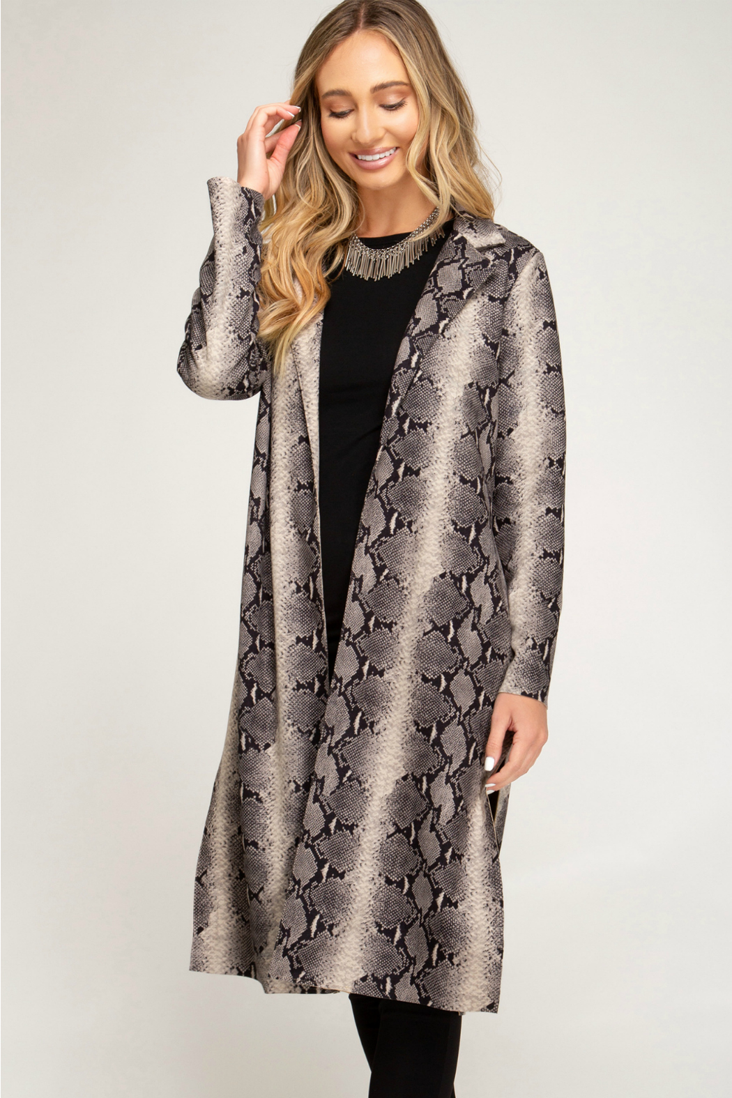 She + Sky Animal Print Suede Duster - Main Image