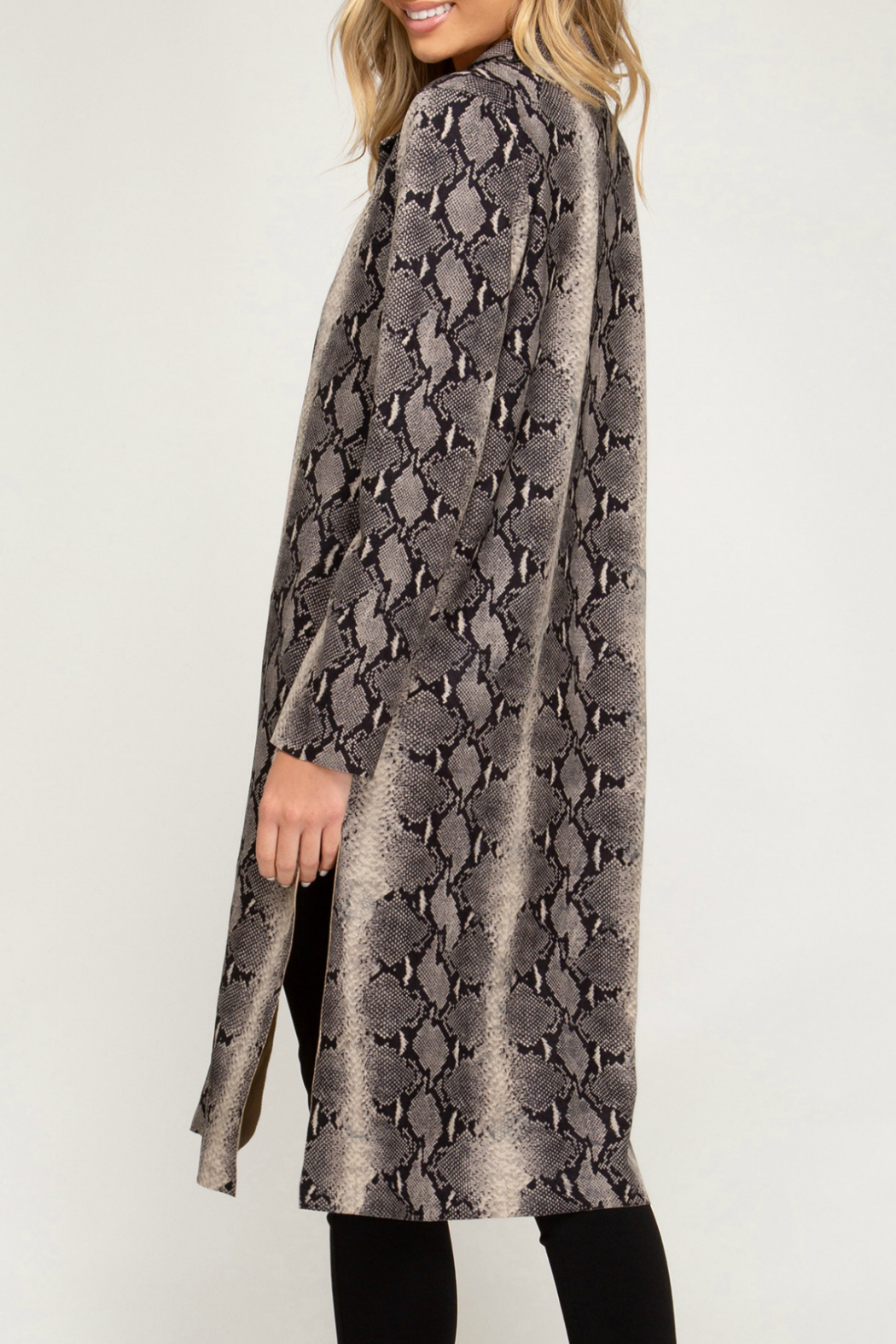 She + Sky Animal Print Suede Duster - Front Full Image