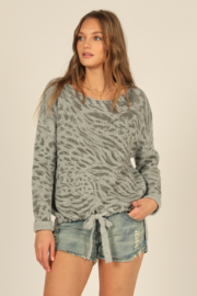 Vintage Havana  Animal Print Sweater - Front cropped