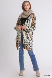 umgee  Animal Print Sweater Cardigan - Front cropped