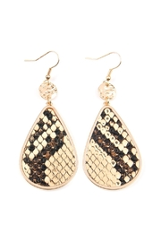 Riah Fashion Animal-Print Teardrop-Inset Leather-Earrings - Product Mini Image