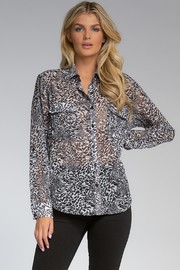 Elan  ANIMAL PRINT BUTTON DOWN - Product Mini Image