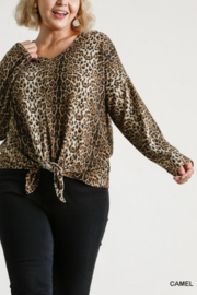 umgee  Animal Print V-Neck Long Dolman Sleeve Curvy Top - Product Mini Image