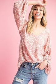 ee:some Animal Print V Neck Puff Sleeve Top - Product Mini Image