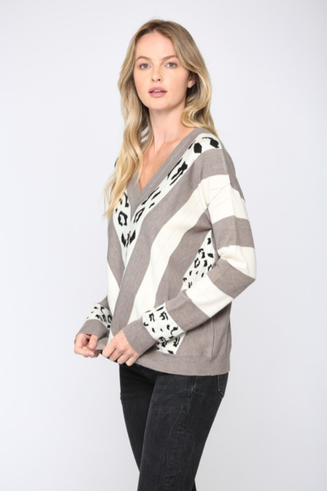 Fate  Animal Print V Neck Sweater - Side Cropped Image