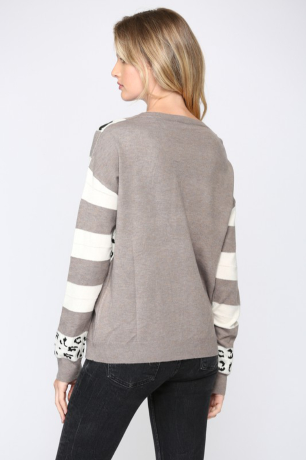 Fate  Animal Print V Neck Sweater - Front Full Image