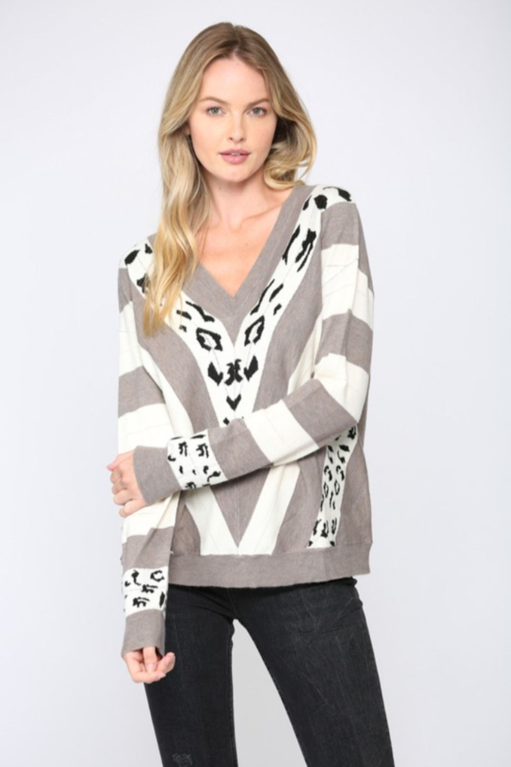 Fate  Animal Print V Neck Sweater - Main Image