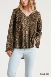 umgee  Animal Print V-Neck Top - Product Mini Image