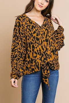Shoptiques Product: Animal Print V-Neck Top