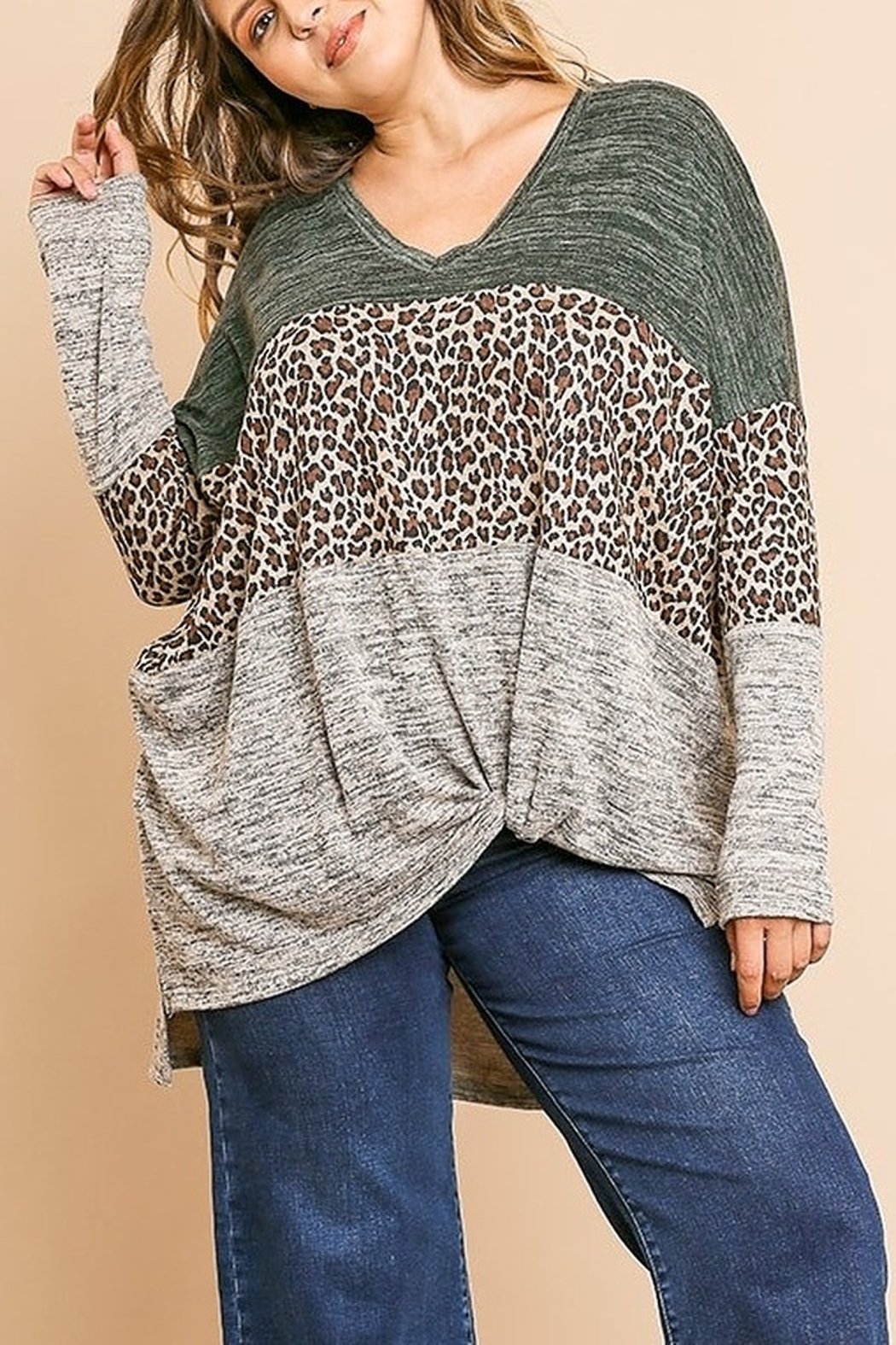 Umgee Animal Print V-Neck Tunic PLUS SIZE - Front Cropped Image