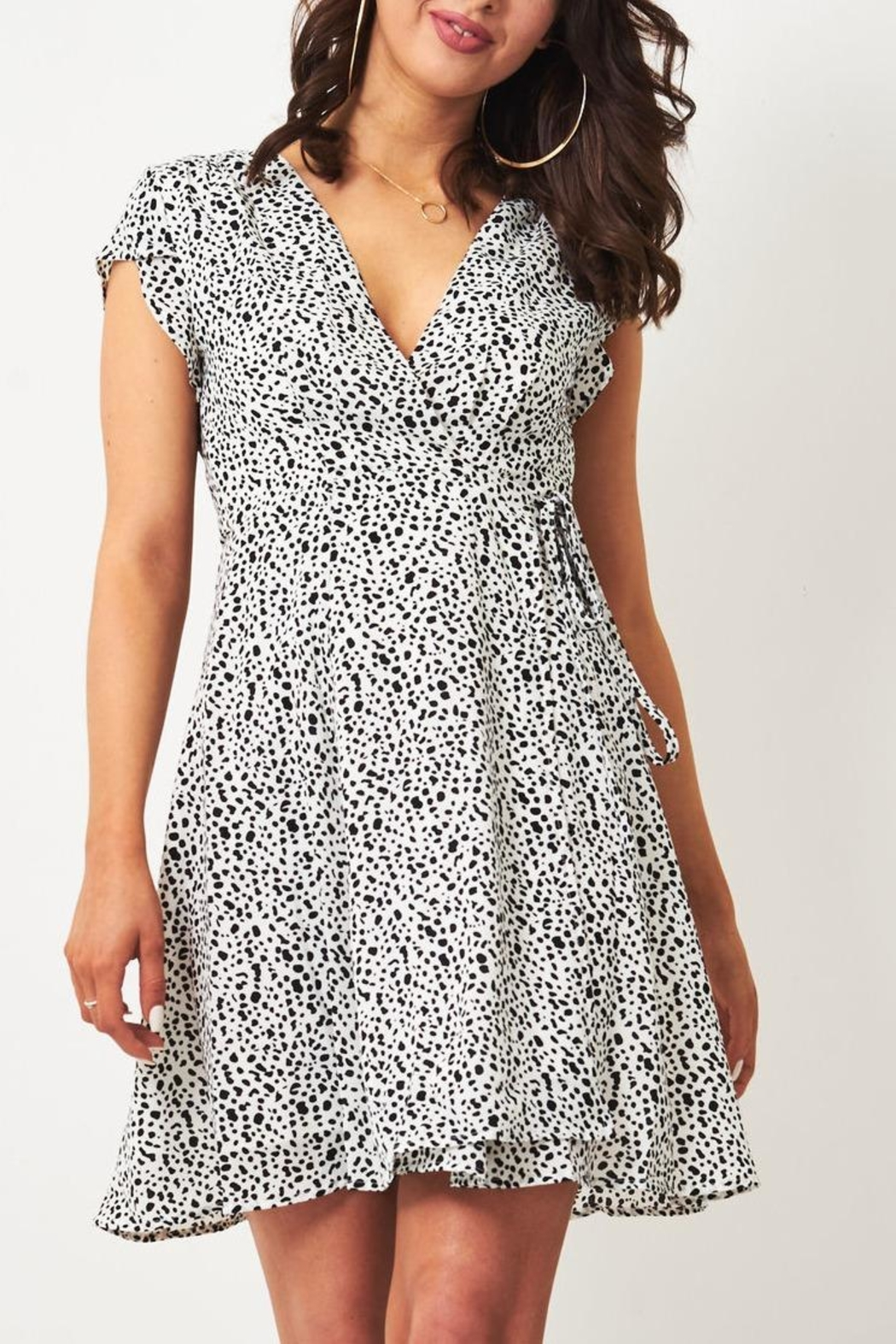 frontrow Animal-Print Wrap Dress - Front Cropped Image
