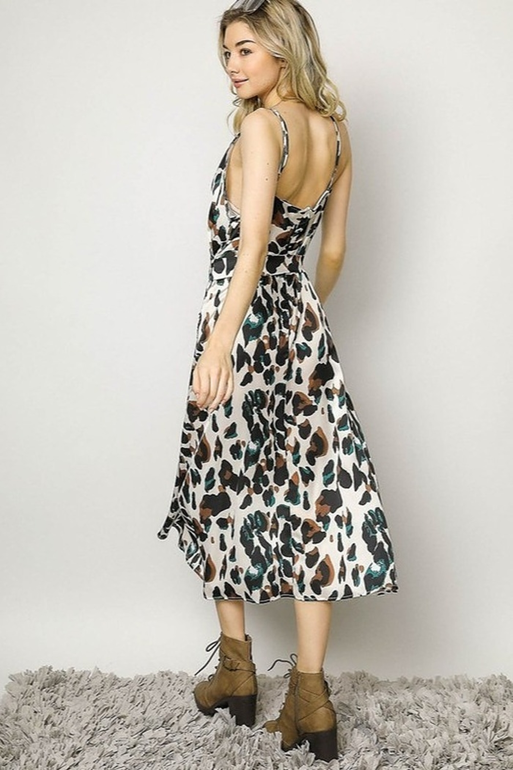 Davi & Dani Animal Print Wrap Dress - Side Cropped Image