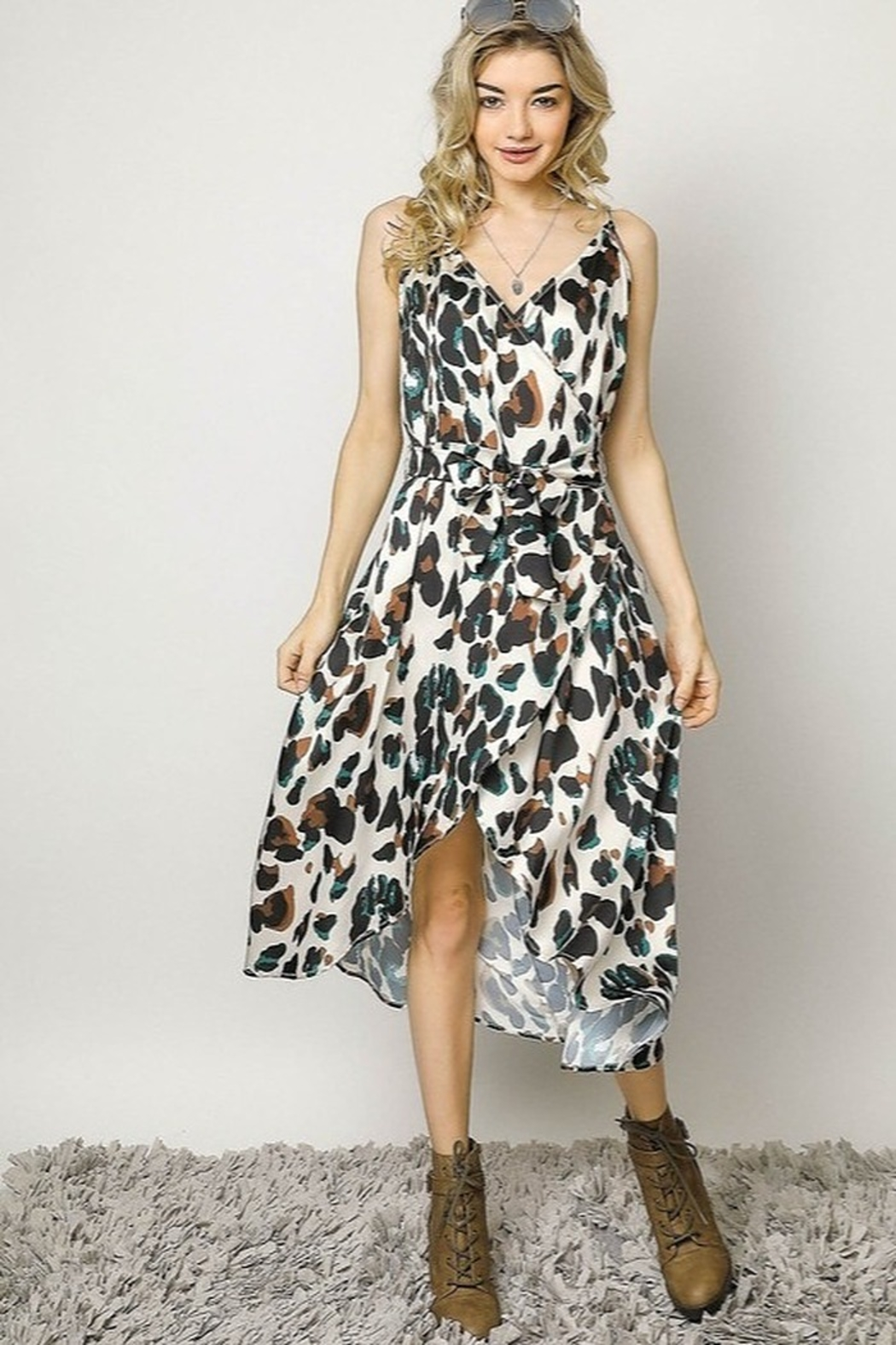 Davi & Dani Animal Print Wrap Dress - Front Full Image