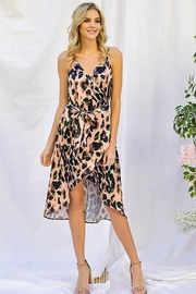 Davi & Dani Animal Print Wrap Dress - Front cropped