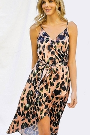 Davi & Dani Animal Print Wrap Dress - Front full body