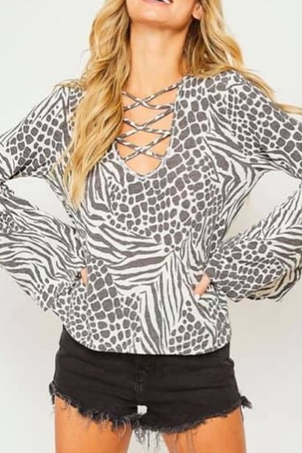 Peach Love California Animal Printed Knit Top - Front Cropped Image