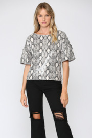 FATE by LFD Animal Printed Sequin Puff Sleeve Top - Product Mini Image