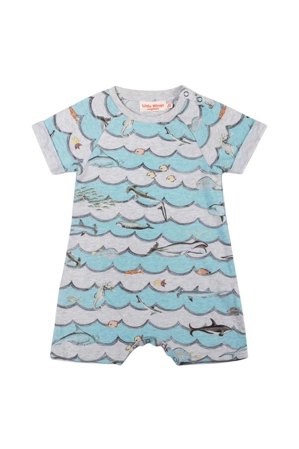 Paper Wings Animal Wave Raglan Cuff Romper - Front Cropped Image