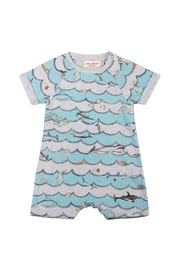Paper Wings Animal Wave Raglan Cuff Romper - Front cropped