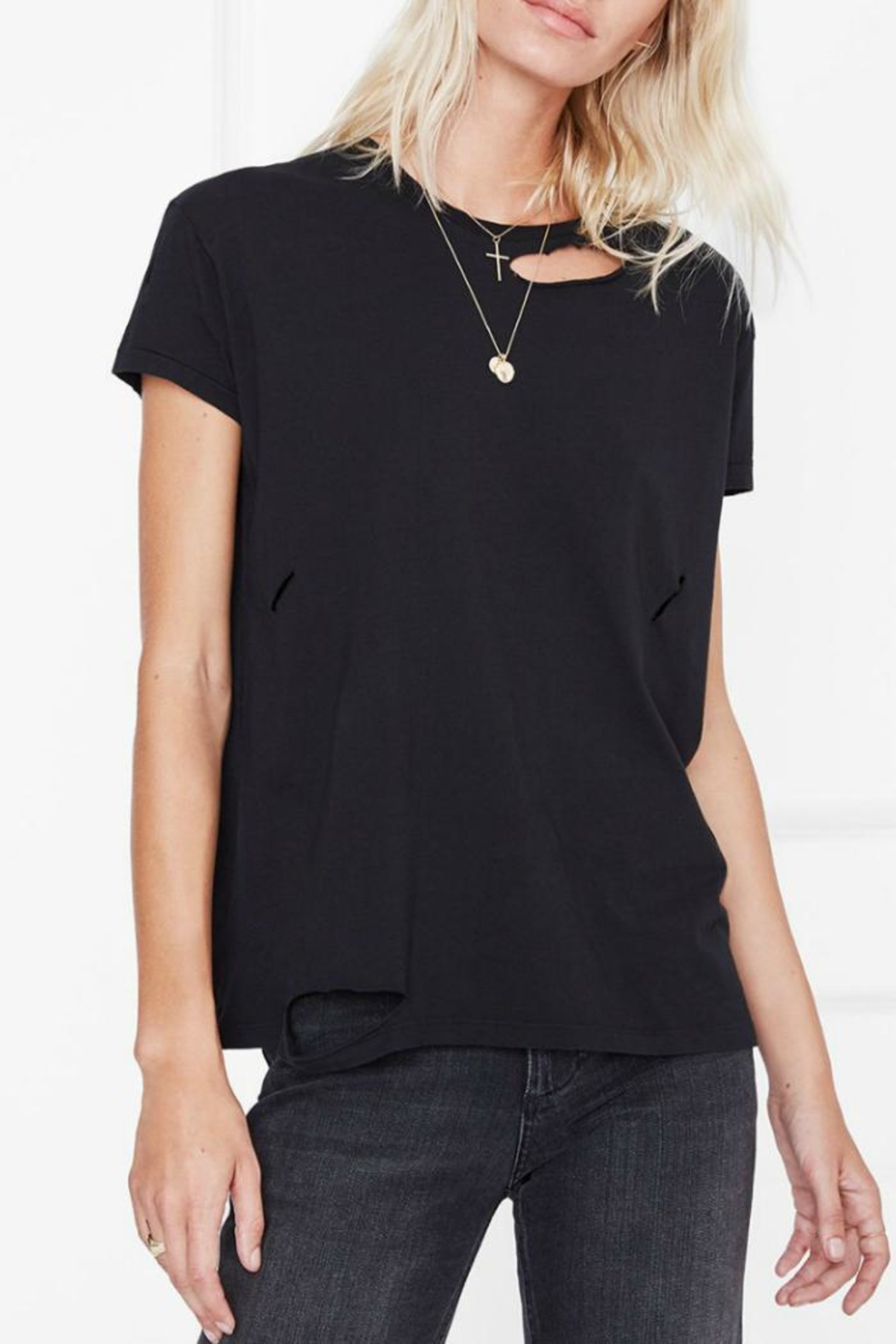 Anine Bing Distressed T-Shirt - Front Cropped Image