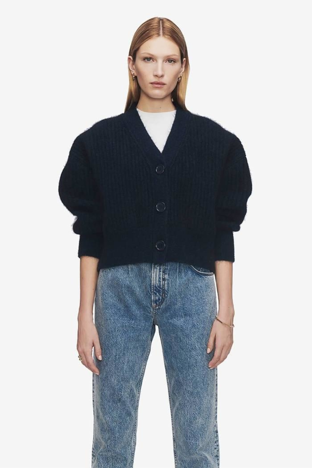Anine Bing Maxwell Cardigan Indigo - Front Cropped Image